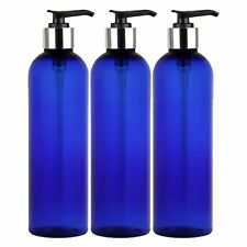 Empty Bottles 8 oz Pump Dispenser Locking Cap BPA Free PET Cobalt Blue Pack 3