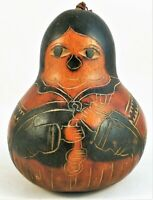 Hand Painted Gourd Carved Lacquered Vintage Folk Handmade Art Lacquer Hand Made