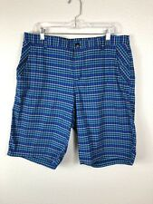 Men's LULULEMON Flat Front Casual/Walking Shorts Blue Plaid Size 36 38