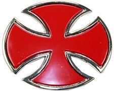 BIG Red Iron Cross Belt Buckle Maltese Biker Oval