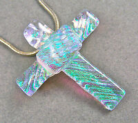 Cross PIN PENDANT Dichroic Fused Glass Clear Green Verdigris Teal Ripple Texture