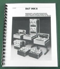 "Studer B67 MKII Operation & Service Manual: 11""x17"" Foldouts & Protective Covers"