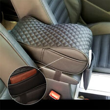 Black Car Universal Armrest Cushion Console Box Cover Pad PU Leather Pouch Bag