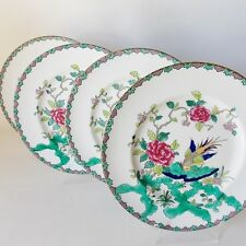 CROWN STAFFORDSHIRE ROCK BIRD FOUR BONE CHINA DINNER PLATES ORIENTAL DESIGN