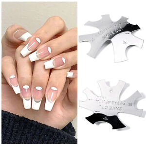 Metal Nail Template Edge Oval-Shaped Cut Trimmer French False Nails Mold Guid HL