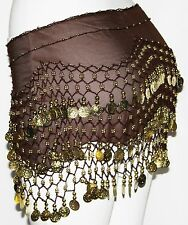Brown Belly Dance Dancing Gypsy Burlesque Gold Coin Hip SCARF Shimmy BELT Wrap