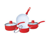 RED 7PC NON STICK CERAMIC COATED ALUMINIUM SAUCEPAN POT FRYING FRY PAN SET