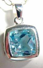 Blue Topaz Square Cshion Cut Pendant 10MM 6.0 Carats 925 Sterling Handmade