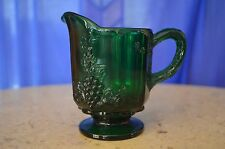 Vintage Small Emerald Green Pitcher Creamer with Grape Designs