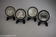 Canadian Wildlife Series Coins -Wolf -Grizzly - Cougar - Moose  - Cases & Stands