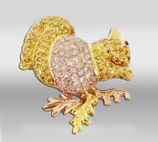 18k Diamond Encrusted Gold Two-tone Rose & Yellow Squirrel Pin Brooch