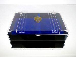 "Vintage Sewing Jewelry ""WHITE"" Blue Felt Black Plastic Watch Box Case 7.5X5X2"