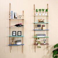 Nordic Wooden Hanging Shelf Swing Rope Floating Shelves Wall Decor Display Rack