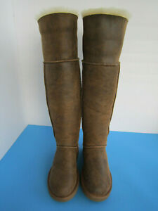 UGG Bailey Button CHESTNUT Bomber Over The Knee Boots Women US Size 5