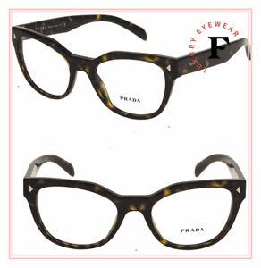 PRADA TRIANGLE PR21SV Brown Havana Eyeglasses RX Optical Frame Square 51 mm 21S