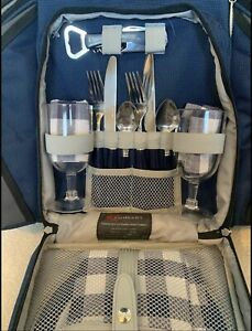 BRAND NEW Concept Picnic Rucksack With Dinner Set And Accessories For Two Blue