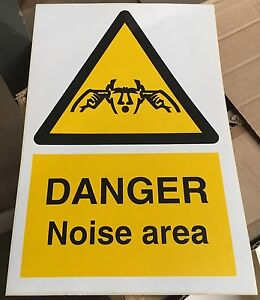 Warning Sign - DANGER Noise area - 300 x 200mm Safety Signs