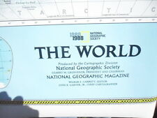 Large National Geographic The World 1888-1988 wall map chart, Cenntenial 100 yrs