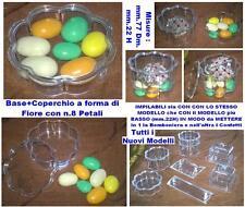 N.10 SCATOLA PLEXIGLASS FIORE IMPILABILE con COPERCHIO mm.77x22H PORTA CONFETTI