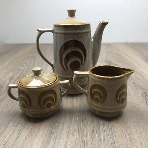 Vintage Tea Set Japan Retro Brown Glaze Teapot Jug Sugar Basin