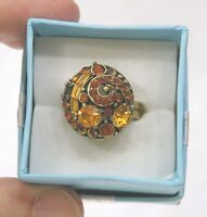 Vintage Jewelry Hollycraft Signed Ring Orange Baguettes Rhinestones Adjustable