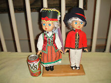 Vintage Polish Or German Boy & Girl Dolls-Traditional Clothing-Eyes Close-Cute