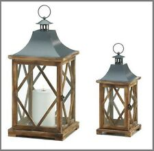 Wood Pillar Candle Holders Outdoor Metal Lantern Small Large Rustic Table Indoor