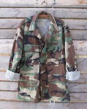 US Army Combat Camouflage Woodland Cotton Blend Uniform Shirt Jacket Size Medium