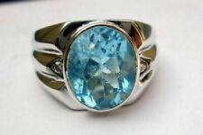 AAA+Sky Blue Zircon Cut Gemstone Solid 925 Sterling Silver Mens Ring Jewelry#K11