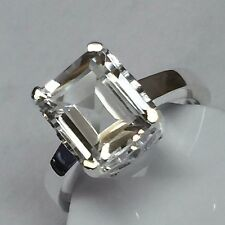 Natural Emerald Cut 4ct White Topaz 925 Solid Sterling Silver Ring sz 7.75