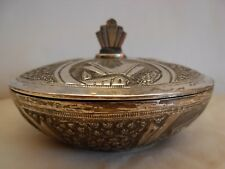 VINTAGE STERLING SILVER HAND CHASED LIDDED BOX - THAILAND, SIAM -  172 grams