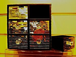 *  JEWELLERY BOX with 6 drawers MIRRORED  for rings, earrings , cuff-lins, etc,