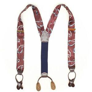 Mens Silk Braces Suspenders Burgundy Blue Paisley Print Leather Button Tab