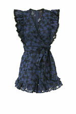 Rebecca Taylor Women's Romper Blue Size 2 Floral Eyelet Ruffle Belted $450- #620