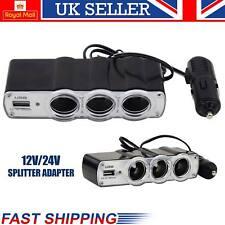 12V 3 Socket Car Cigarette Lighter Socket Splitter +1 USB Plug Charger Extension