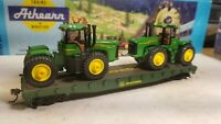 Athearn HO John Deere 50' flat car for train set with 9620 tractor load - new