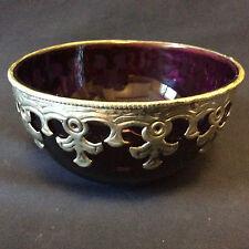 Bol de Hammam en verre violet bordé d'argent bas titre orientaliste XXème
