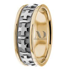 14K Gold Handmade Two Tone 6.5mm wide Christian Cross Wedding Ring