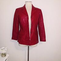 Vintage red lamb skin leather blazer jacket petite s  Preston & York