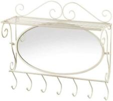 Accent Plus Wall Shelf with Mirror and 7 Hooks for Hallway or Bathroom - White