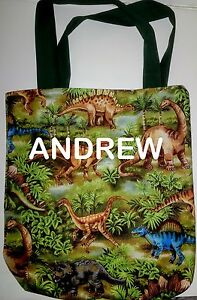 Adorable PERSONALIZED Tote Book Bag - DINOSAURS!