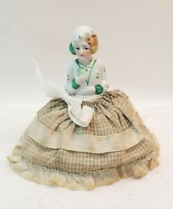 Vintage Half Doll Lady Porcelain Sewing Pin Cushion Boudoir Woman Vanity
