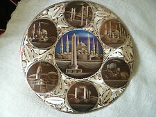vintage turkish istanbul copper plaque wall plate etched mosque bridge landmarks