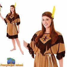 NATIVE INDIAN BUDGET WILD WEST LADY UK 10-14 ladies womens fancy dress costume