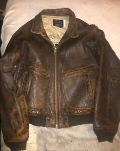 """Genuine """"AVIREX """" 100% HEAVY LEATHER DISTRESSED BROWN G-2  Bomber Jacket Size 44"""