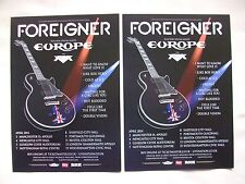FOREIGNER/Europe/FM Live in Concert 2014 UK Tour. Promo tour card flyers x 2