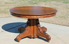 Beautiful Solid Walnut 48 in Round Victorian Dining Table with 2 Leaves c1875