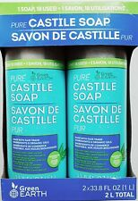 Pack of 2 Green Earth Pure Castile Liquid Soap 1L (33.8 oz) Peppermint Scent