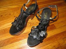 "COACH ""Jeanna"" Womens Platform Black & Gold Flowered Leather Strappy Sandals 7 B"