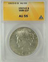 1923-D $1 Peace Silver Dollar VAM-1CF ANACS AU55 #6032902 TOP POP! RARE R6!